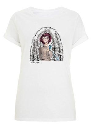 Camiseta blanca mangas enrolladas (Pájaro)